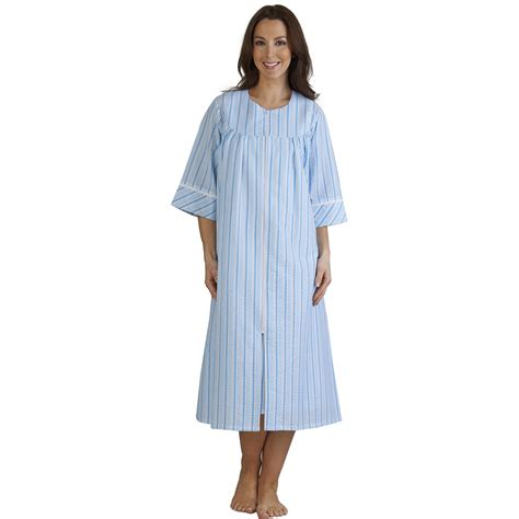 light weight summer zip up slenderella seersucker stripe dressing gown