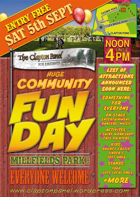 poster design fun day what s on clapton neighbourhood panel for residents