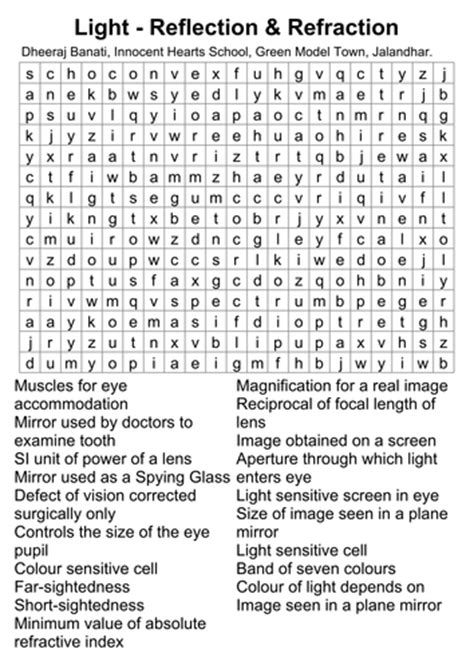 Light Crossword Puzzle Worksheet by Light Its Reflection Refraction By Dbanati Teaching