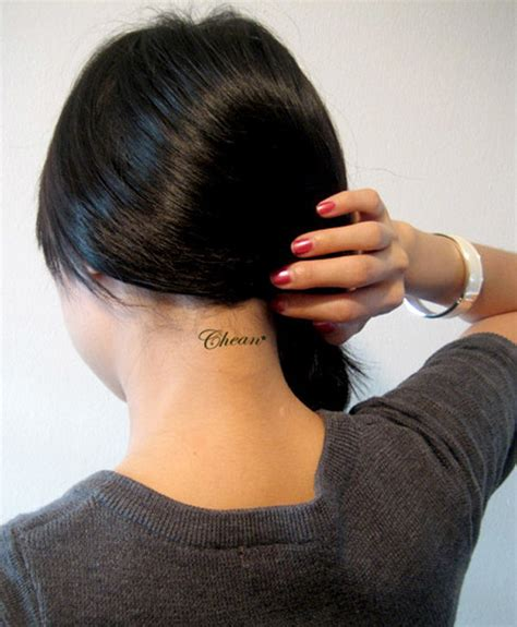 cute small neck tattoos back of neck designs for www pixshark