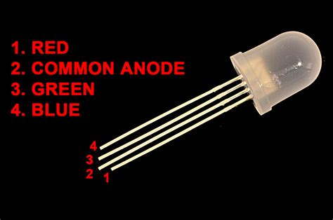 Led Rgb 4 Kaki led rgb diffused 10mm common anode 4 leds