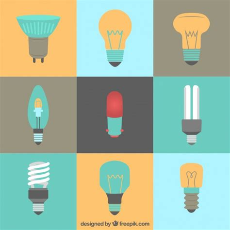 flat light bulbs kinds of lightbulbs in flat style vector free