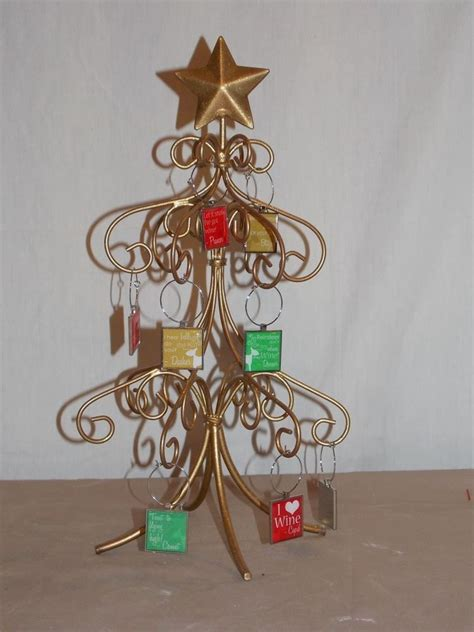 new metal christmas tree wine glass charm marker holder