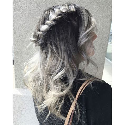 how to do balayage with twisting hair dark ash root shade with a silver gray balayage braided