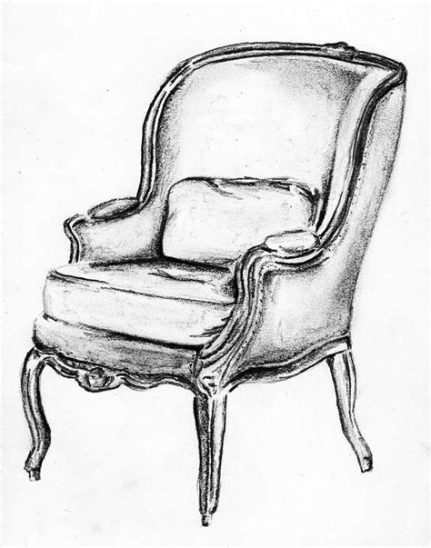 pencil sketches of chairs bergere sketch andrea andert in 2019 chair drawing