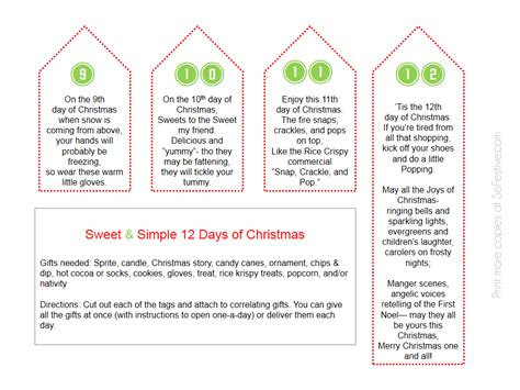sweet simple 12 days of christmas printables so festive