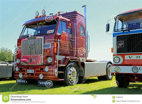 dark red volvo  show truck editorial photography image