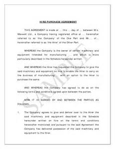 Hire Agreement Template by Sle Of A Hire Purchase Agreement Classtalkers