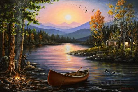 Lake Cabin Landscape Painting Quot Cfire Stories Quot 16x24 Wildlife And Art Painting Pictures