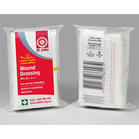 For Dressing by Wound Dressing No 13 St Ambulance Australia