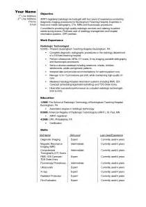 radiologic technologist resume sle ct tech resume radiologic technologist cover letter