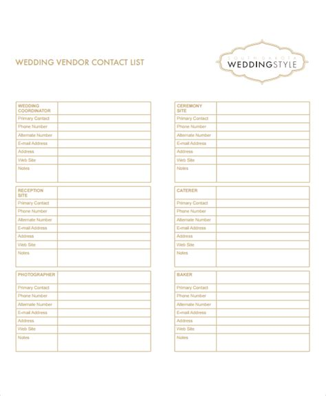 wedding contact list template vendor list template 8 free word excel pdf document