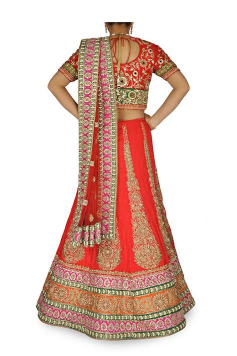 Wedding Lehenga Borders by Color Wedding Lehenga Choli With Orange Border