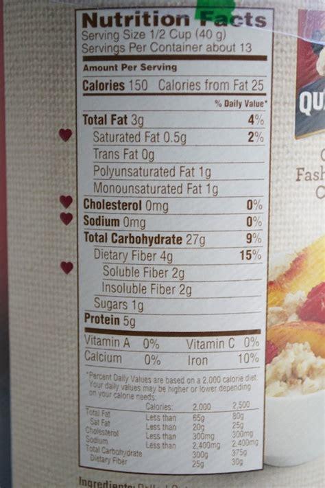 whole grain quaker oats nutrition facts quaker oats nutrition facts label mloovi