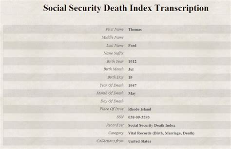 Social Security Deaths Free Records Social Security Index Findmypast Co Uk
