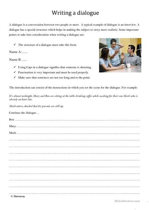 Writing Dialogue Worksheet by Writing A Dialogue Worksheet Free Esl Printable