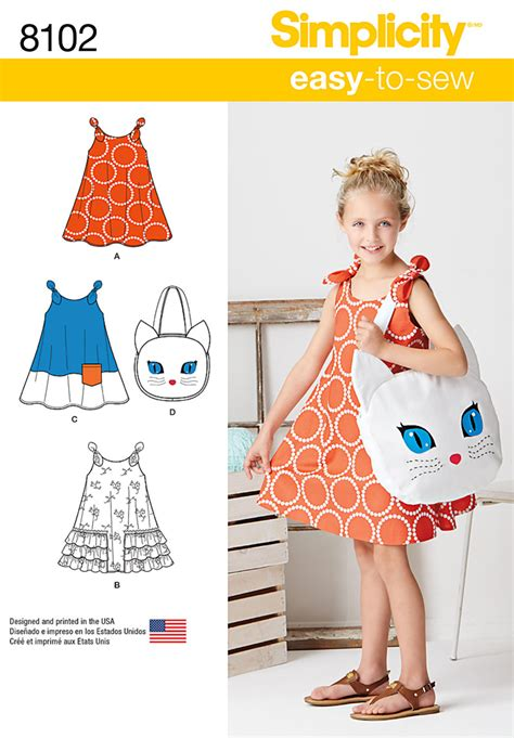 sewing pattern review forum simplicity 8102 child s easy to sew sundress and kitty tote
