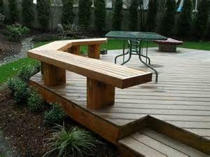 use the bench as a railing ground level wood deck with