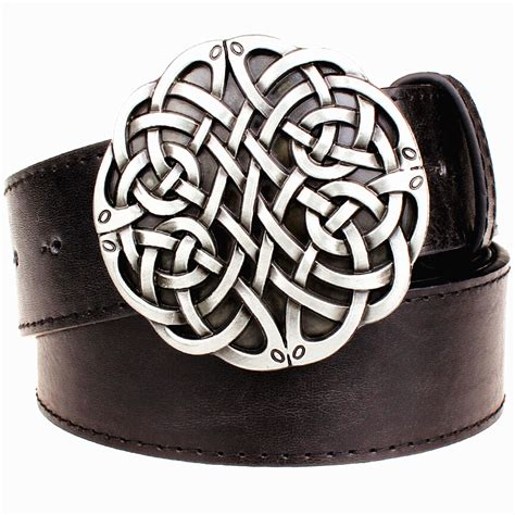 fashion leather belt celtic knot series metal buckle