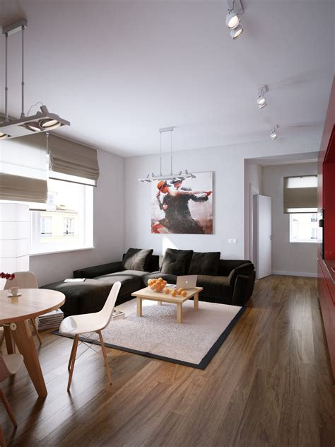 l for living room modern red apartment for a young couple visualized