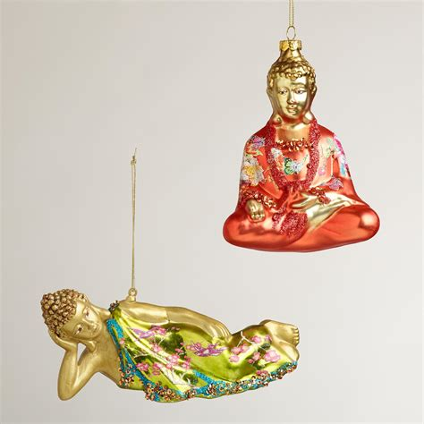 floral glass buddha ornaments set of 2 world market