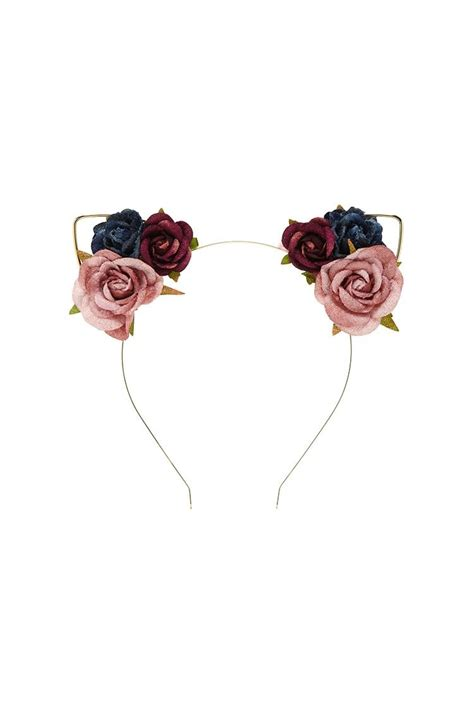 Bando Forever21 Flower Pattern Hair Band floral cat ears headband accessory cat ears headband ear headbands and cat ears