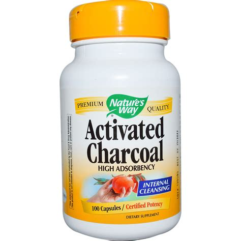 Activated Charcoal 100 Kapsul nature s way activated charcoal 100 capsules iherb