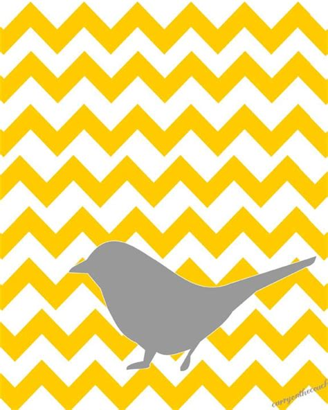 chevron pattern yellow and grey gray bird on yellow chevron pattern 8x10 digital print