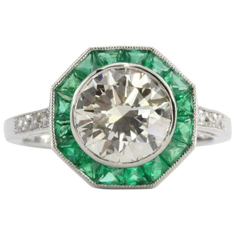 deco style engagement ring deco style 2 1 carat emerald platinum d engagement ring for sale at 1stdibs