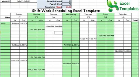 shift work scheduling excel template scheduling template