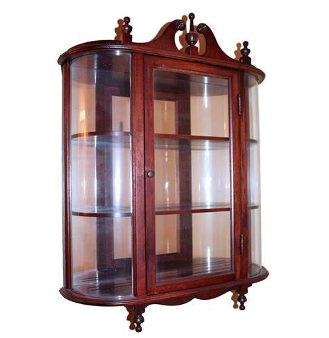 small cherry wood and glass wall curio cabinet ebth