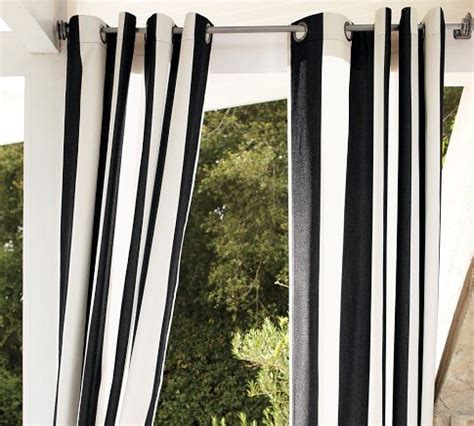 black white stripe curtain sunbrella 174 awning stripe outdoor grommet drape black