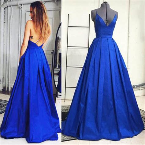 royal blue plunge v neck prom dresses, sexy prom dresses