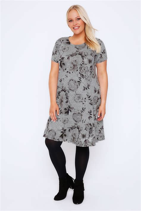 grey swing dress grey marl rose print swing dress plus size 16 to 32