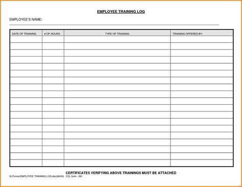 Training Records Template 69 Infantry Employee Record Template