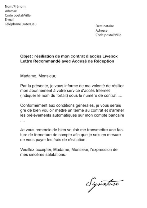 Exemple Lettre Procuration Orange Lettre De R 233 Siliation Orange Livebox Fibre Mod 232 Le De Lettre