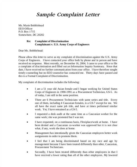 Complaint Letter Template To Employer complaint letter sles 28 free word pdf documents