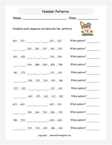 increasing pattern activities solve our subtraction pattern worksheet with 2 digit