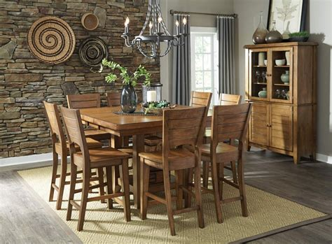 furniture 7 extension pub dining room set in furniture 7 extension pub dining room set in pecan by dining rooms outlet