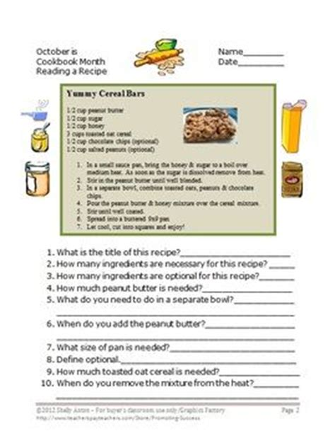 Cooking Measurements Worksheet Answers Skills Math Worksheets Reading A Recipe Comprehension