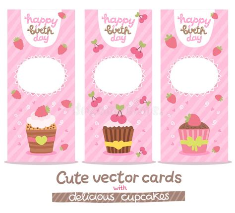 cupcake birthday card template happy birthday card background with cupcakes stock vector