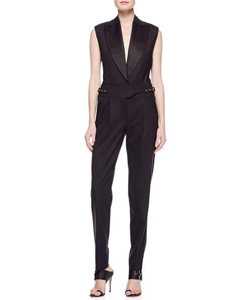 Tuxedo Romper Blackred jason wu gabardine tuxedo jumpsuit in black lyst