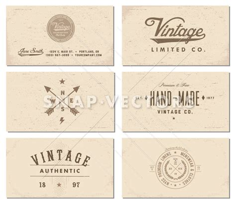 retro photo card templates vector vintage business card template set snap vectors