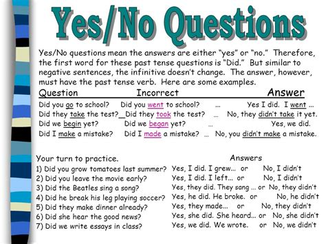 quiz questions yes or no past tense verbs irregular negative yes no questions