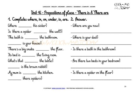 Grammar Worksheets Answers by Grammar Worksheets Complete Answer There Is There Are U16