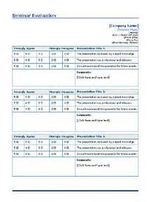 seminar evaluation form template seminar evaluation form free layout format