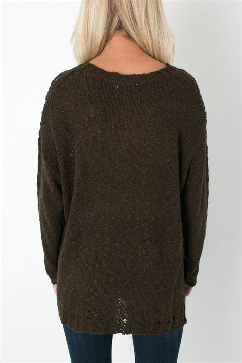 olive green knit sweater lush olive knit sweater from colorado by apricot