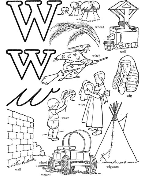 Drawing W Words by Free Coloring Worksheet Beginning With Letter W