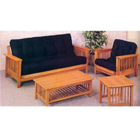 mission style futon couch futons oak mission style fuson sofa and chair 5137 co