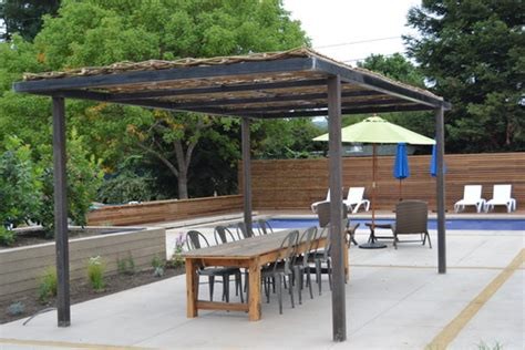 steel frame pergola just completed woven willow canopy with steel frame pergola